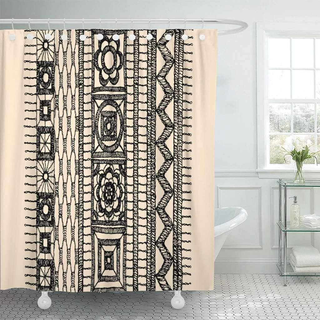 Us 18 73 25 Off Fabric Shower Curtain Hooks Brocade Crocheted Lace Border Openwork Pattern Glamour Modern Fashionable Lattice In Shower Curtains