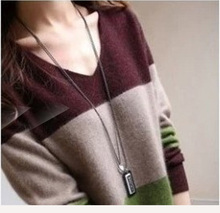 Autumn And Winter New V-neck Striped Cashmere Sweater Womens Head In The Long Section Thick Color Contrast Loose Dress