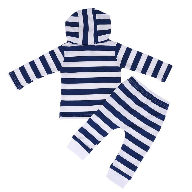 Winter Hooded Children Clothes Set Striped Autumn Baby Clothing Infant Sweatshirt+Pants Toddler Tops for Boy Girl