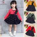 2016 Autumn Children Girl Dress Long Sleeve Appliques Polka Dots Baby Girl Dress Knitted Tutu Kids Dress 4 Color For Choose