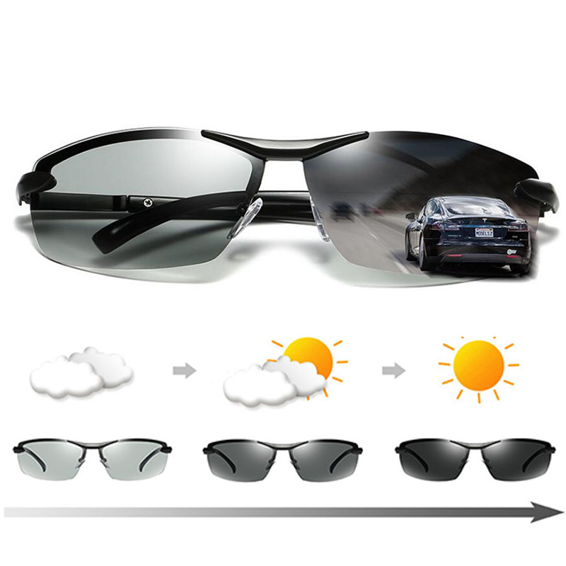Polarized Photochromic Sunglasses Mens Metal Frame Anti