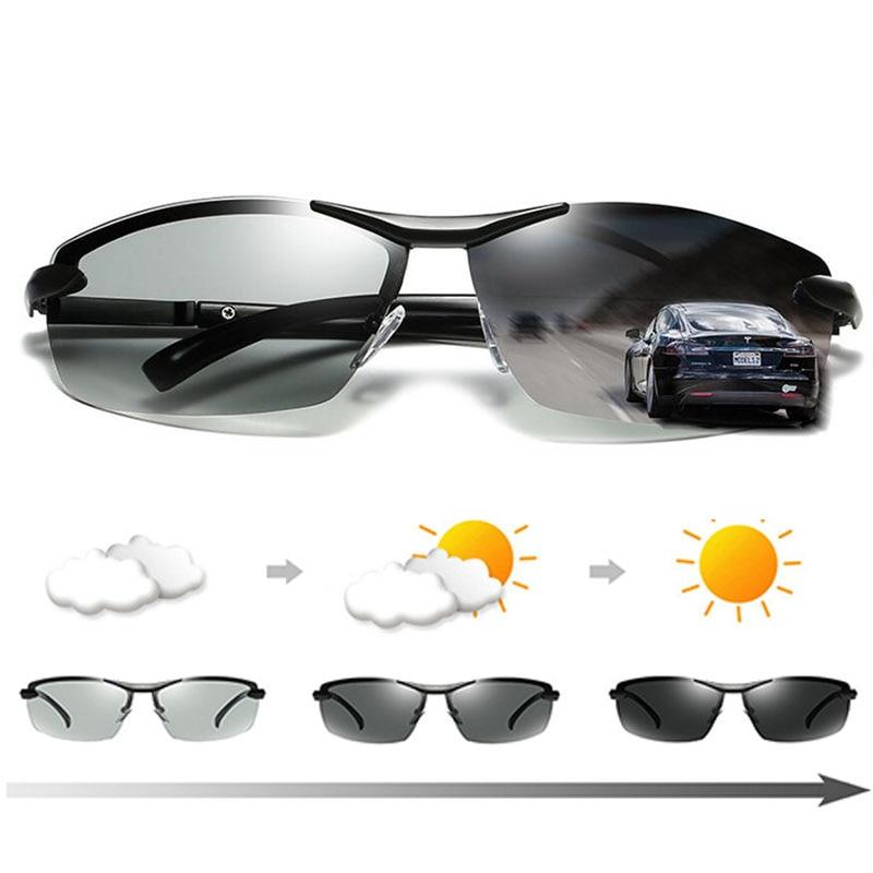 Polarized Photochromic Sunglasses Mens Metal Frame Anti ...
