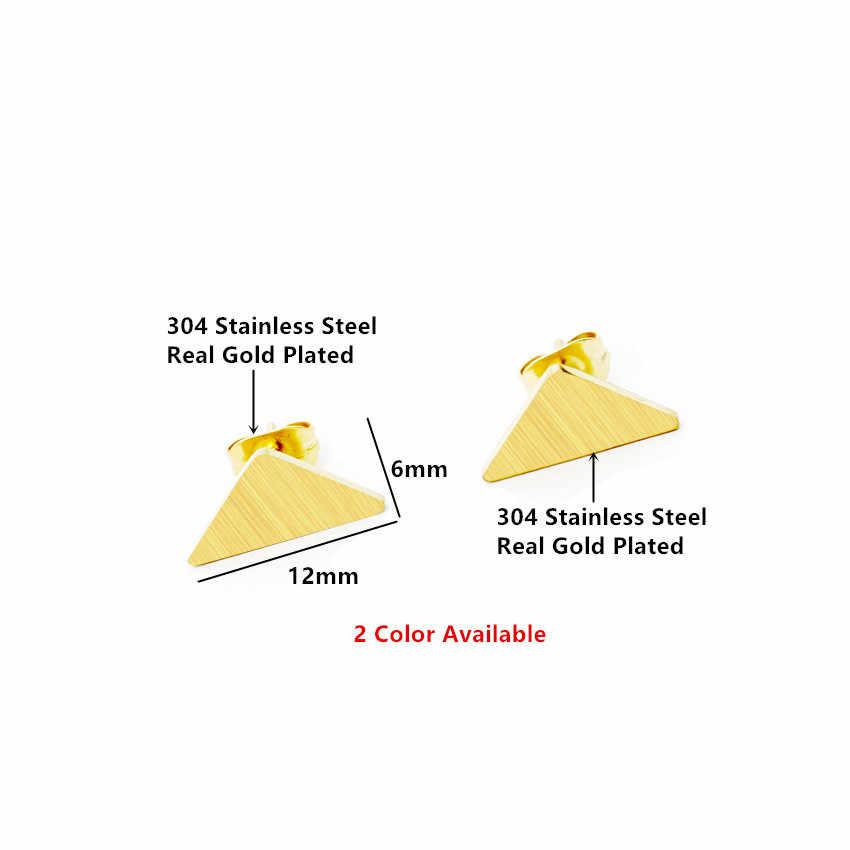 Đồng hồ nam Dây Thép Không Gỉ Nhỏ Tam Giác Bông tai Nữ Trang Sức Thời Trang Tối Giản Hình Học Oorbellen Vàng Màu Bạc