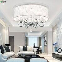 Modern Lustre Chrome Metal Led Ceiling Lights Crystal Living Room Led Ceiling Light Fabric Living Room Led Ceiling Lamp Fixtures