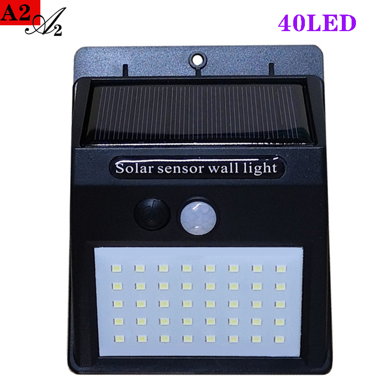 A2 Solar Lantern Energy Light 40LED Motion Sensor Solar Power Lamp For Home Garden Outdoor Street Yard Path