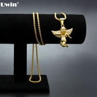 Gold Tone Iced Out Micro Angel Pendant With Yellow Gold Necklace Round Box Link Chain Charm