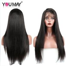 전체 레이스 인간의 머리카락과 가발 아기 머리카락과 함께 미리 뽑아 150% 밀도 브라질 스트레이트 전체 레이스 가발 여성을위한 레미 헤어 수 있습니다