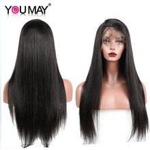 Pelucas con cabello humano de encaje completo, pelucas con minimechones Pre desplumadas 150% de densidad, pelucas brasileñas rectas de encaje completo para mujeres, cabello Remy