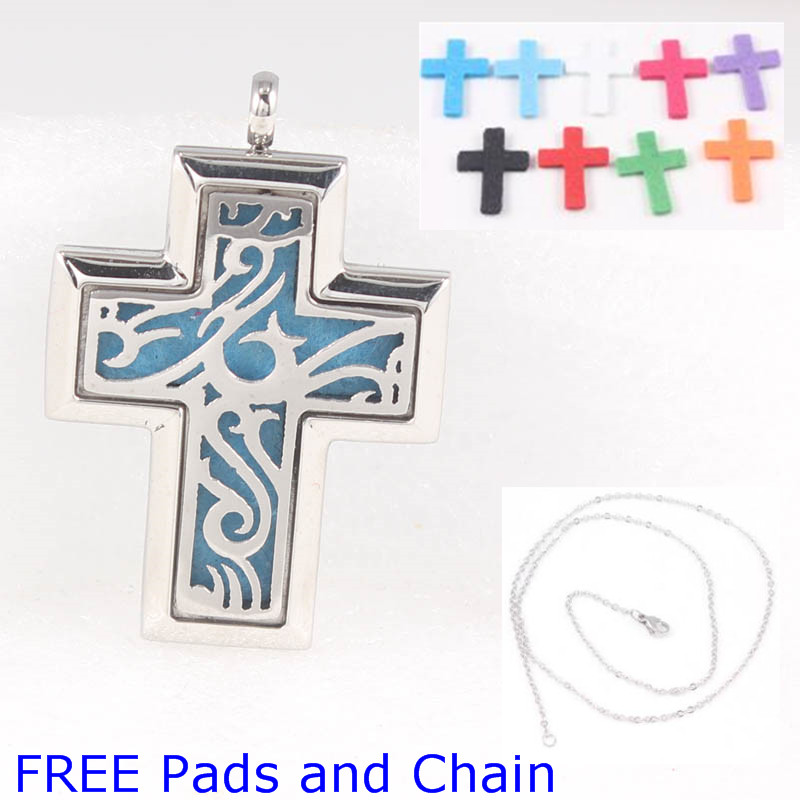 Free Pads and Chain!45*30mm Cross Stainless Steel Aroma Perfume Diffuser Locket Pendant Essential Oil