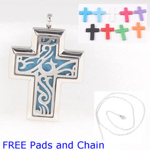 Free Pads and Chain!45*30mm Cross Stainless Steel Aroma Perfume Diffuser Locket Pendant Essential Oil Diffuser Locket Pendant