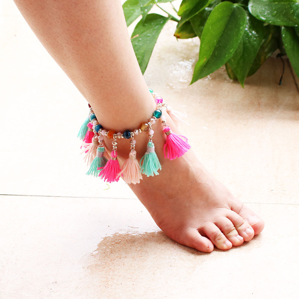 Anklet Ethnic Bohemian Tassel Anklets For Women Bohemian Ankle Bracelet Elastic Cheville Barefoot Sandals Pulseras Foot Jewelry