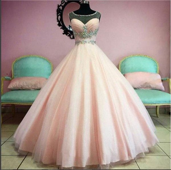 Blushing Pink Ball Gown Prom Dresses 2017 Long Floor Princess Puffy ...