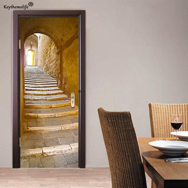US $17.72 25% OFF|2 teile/satz Europäischen Stein Treppe Wand Aufkleber DIY  Wandbild Schlafzimmer Home Decor Poster 3D Tür Aufkleber Tapete CF in 2 ...