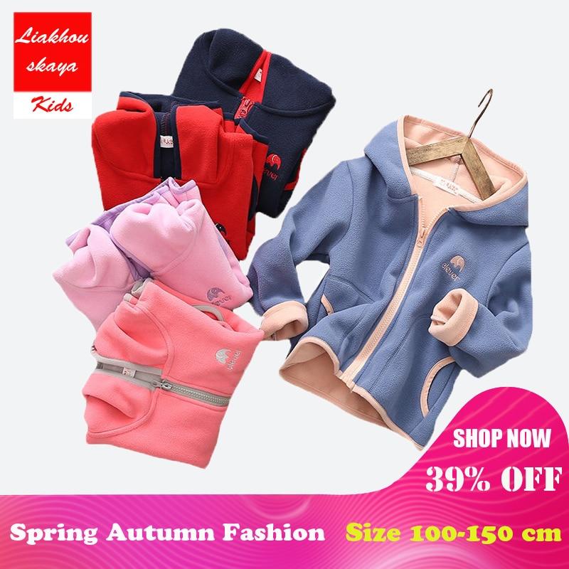 Liakhouskaya Girls Cute Soft Polar Fleece Hoodies Jacket For Girls 2018 New Children Spring Autumn Outwear Teenagers Kids Coat