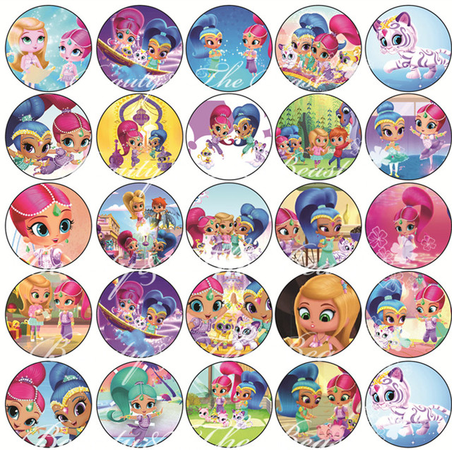 Shimmer Shine Sticker Cupcake ToppersBirthday Party Decorations Kids Label For Birthday
