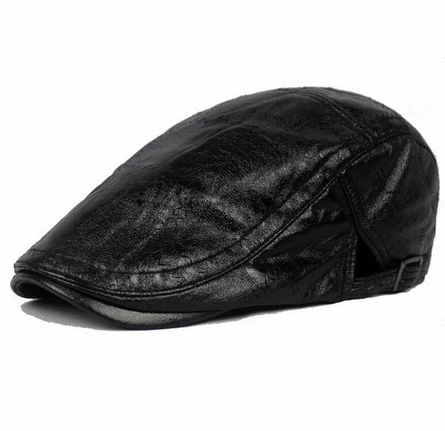 c4821fcb3093d 6 EXTRA LARGE Leather Cap Beret Forward Cap Autumn and Winter Days in the  Elderly Male Ms. warm Leather Hat boina