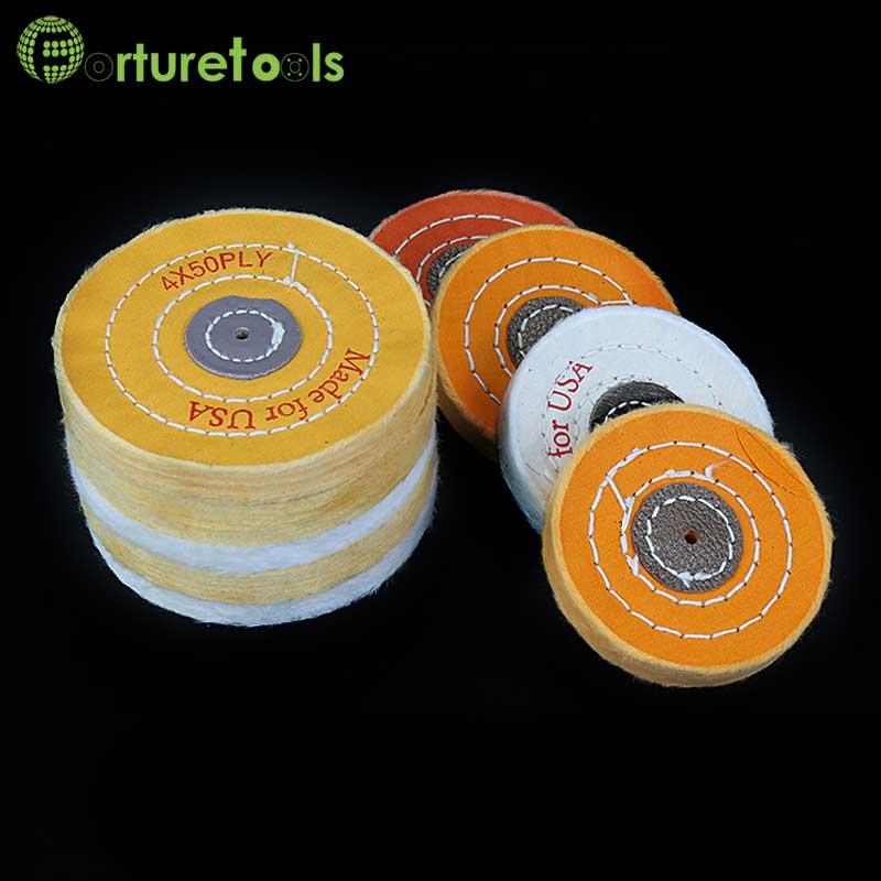 Nerūdijančio plieno aliuminio medienos geltonos, baltos spalvos, 3 colių arba 4 colių, medvilninis ratukų dygsnio šlifavimo audinys, 5 colių QT013