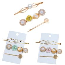3Pcs/Set Japanese Ladies Geometric Metal Hair Clips Dried Flower Acetate Buttons One Word Hairpins Smile Face Styling Barrettes