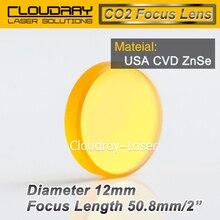 США CVD-ZnSe Фокус Объектива Dia. 12 мм FL 50.8 мм 2 «для СО2 Лазерной Гравировки Резки Бесплатная Доставка