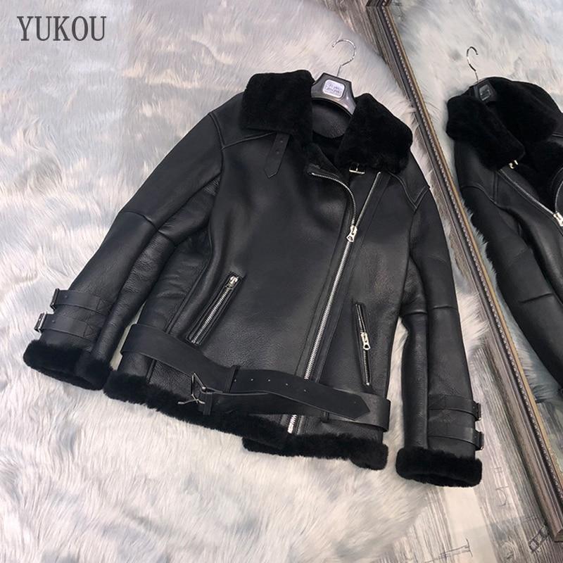 Manteau femme en peau de mouton naturelle et laine mode hiver 2018 fourrure de mouton mérinos chaud et épais vêtements en cuir véritable moto