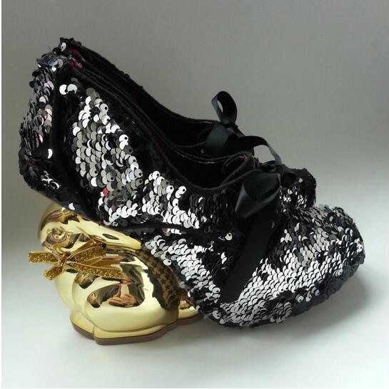 Sweet Golden Rabbit Heel Shoes Young Ladies Chic Irregular Lace-Up Glitter Embellished Dress Shoes Elegant Round Toe High Heels