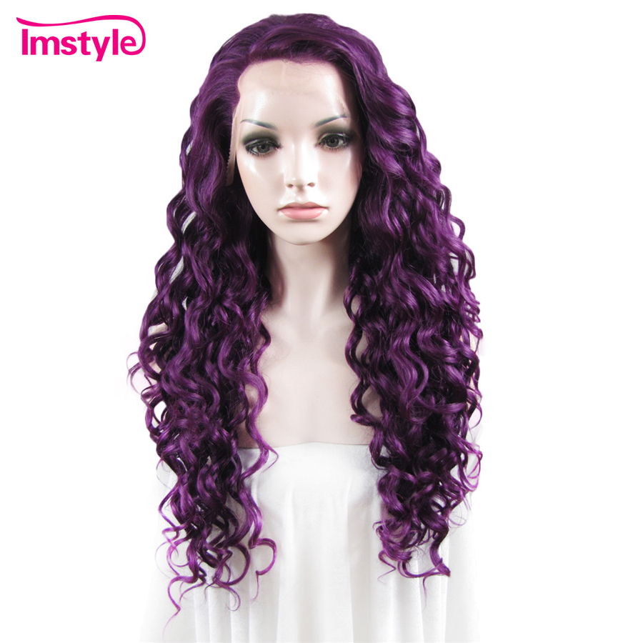 Imstyle Purple Wig Curly Synthetic Lace Front Wig Long Hair Wigs For Women Heat Resistant Fiber Drag Queen Cosplay Wig-in Synthetic None-Lace  Wigs from Hair Extensions & Wigs    1