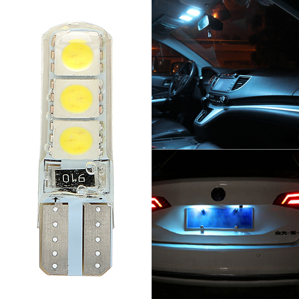 Silicone T10 5050 6SMD Shell White LED Car Reading Lamp Canbus Auto Replacement Parts Car Lights Interior Lights Car-styling