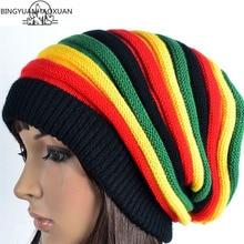 BINGYUANHAOXUAN 2017 Rainbow colors hats Womens Beanies Bonnet Hats Winter Colorful Striped Knitted ski Braid Cap Skullies