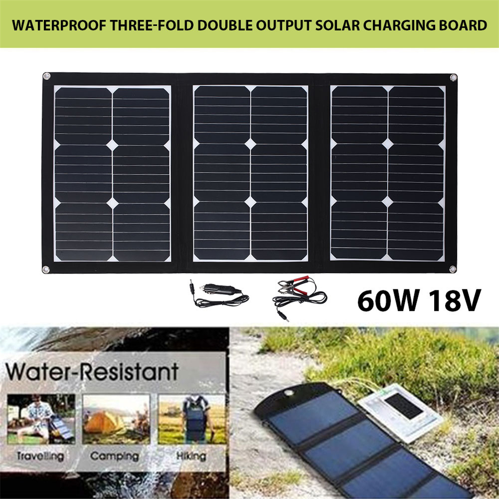 BCMater Durable 60W DC 18V Folding Solar Pane Emergency Power Supply Solar Panel USB Port Outdoor Solar Generator Solar Light outdoor solar panel 20w 18v portable solar cell emergency power supply solar generator usb dc port solar panels power charger