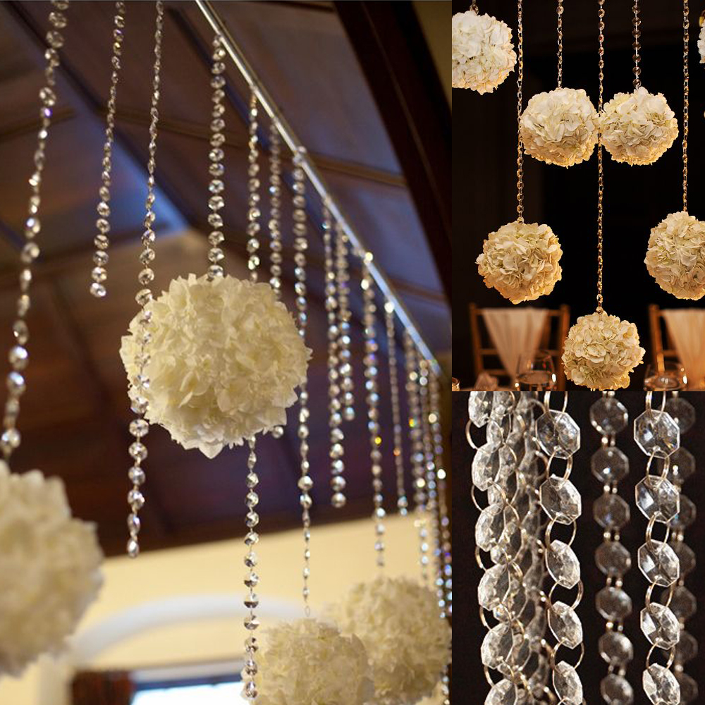 1meter X 10 Pack Acrylic Beaded Clear Bead Garland Chandelier Tree Hanging For Event Wedding Centerpieces Party Decorations In Diy From