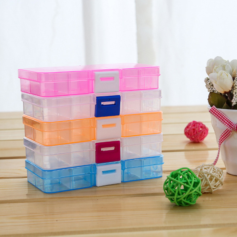 Jewelry Packaging Display 10, Transparent Plastic Box Grid Portable Bracelet Earrings Jewelry Box Storage Box Mini