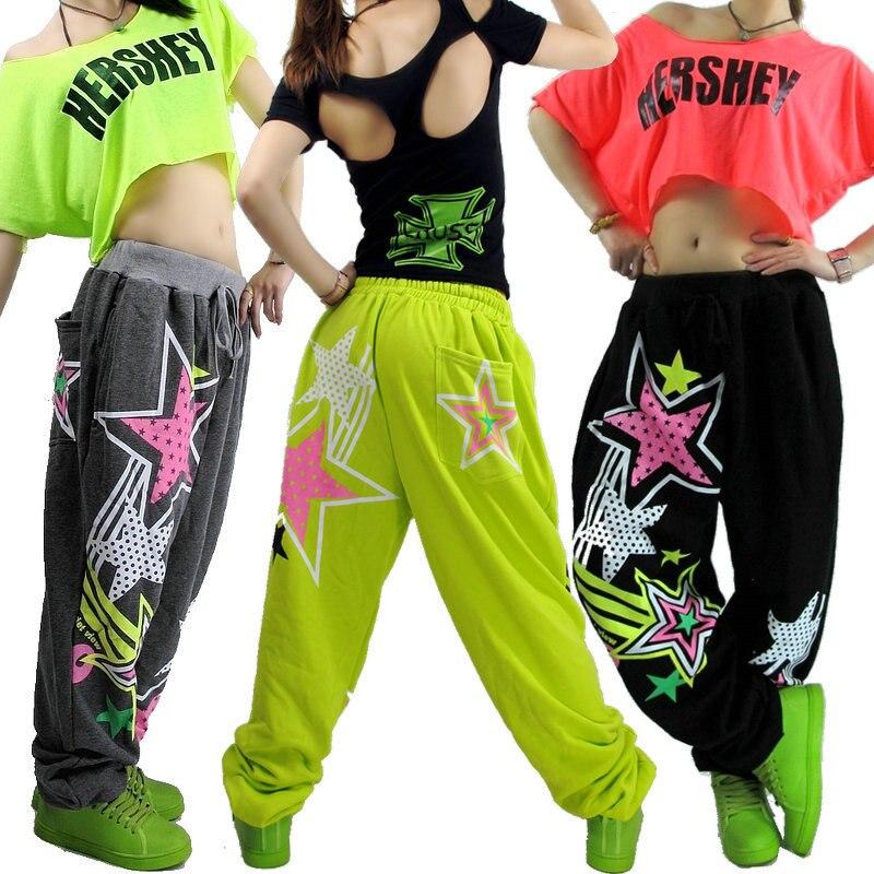 Nuevas mujeres de la manera de hip hop Pantalones desgaste de la danza traje  DS femeninos ocasionales flojos del harem DE LOS Pantalones en Pantalones y  ... 41d9ed2dd48
