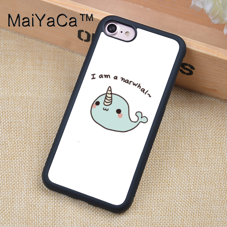MaiYaCa Kawaii narwhal sea unicorns Mobile Phone Cases For iphone 6 6s Back Shell Bags Cover Rubber Soft TPU Edge Fundas