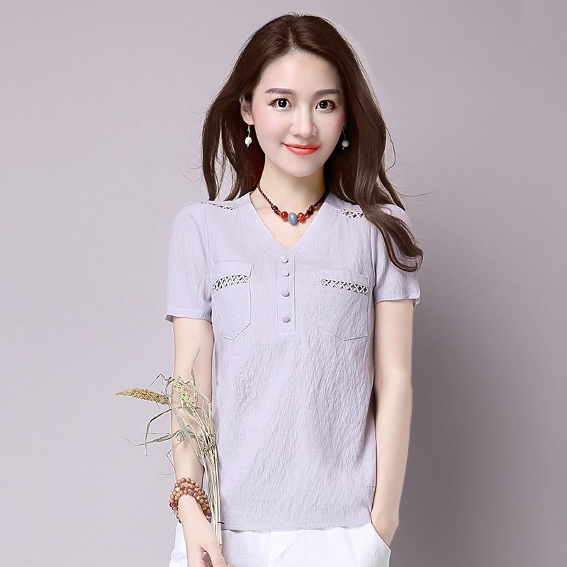 Short sleeve blusas feminina ver o 2019 summer tops women tops linen shirt women blouses off shoulder women blouse 8