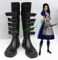 Alice Madness Terugkeer Alice Halloween Zwarte Meisjes Lange Cosplay Laarzen H016