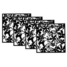 Decoration For Home Fashion 4Pcs Flower Hanging Screen Partition Divider Panel Room Curtain Home White/Black/Red(China)