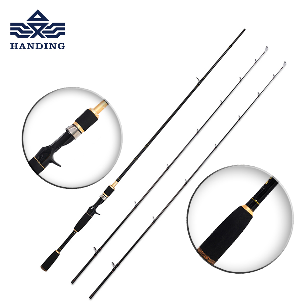 цена на Handing 1.8m/2.1m Lure fishing Rod M/MH 2 tips high Carbon spinning rod and casting fishing pole Ultra light Fishing Rod