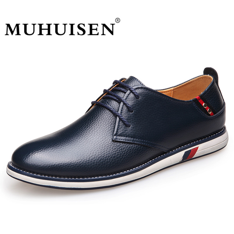 Men Casual Shoes New Fashion Genuine Leather Comfortable Flat Male Oxford Shoes Lace-Up Business Shoes Footwear MUHUISEN Brand men s leather shoes vintage style casual shoes comfortable lace up flat shoes men footwears size 39 44 pa005m