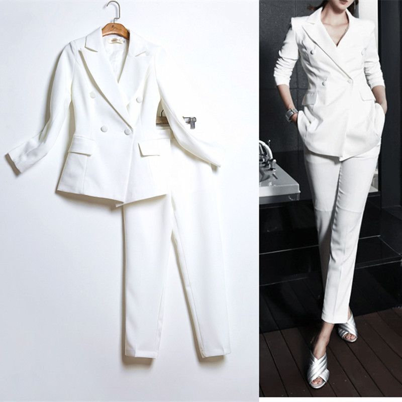 High Quality White Suit Female Korean Fashion Ladies Real Slim Blazer Suit Two Piece Trousers + Blazers 2PC Female Sets Pants