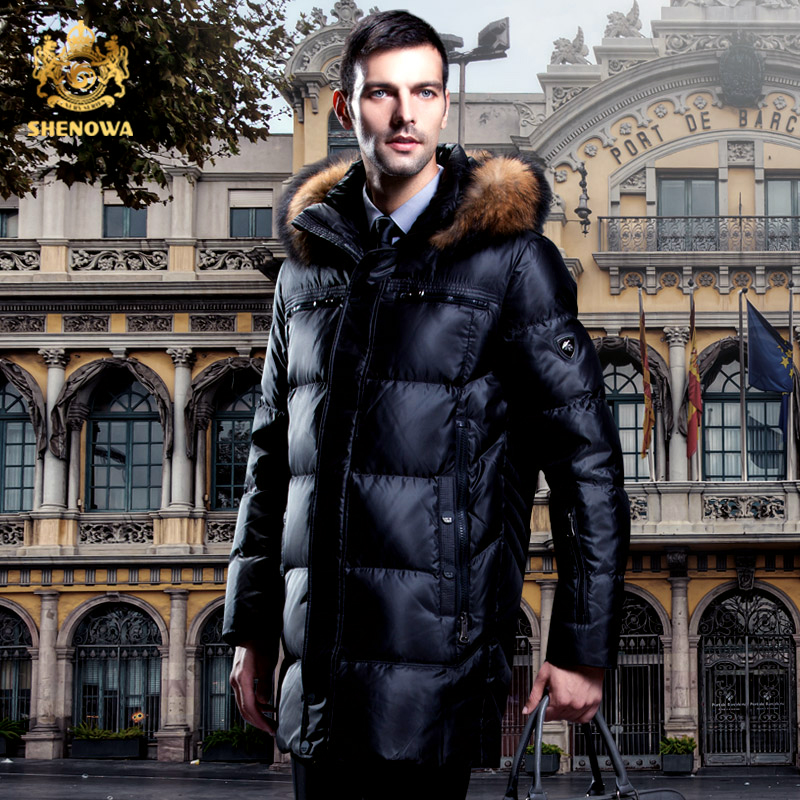 2017 new   Down     coat   male raccoon fur slim medium-long thickening commercial winter