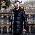 2017 nueva Abajo de la capa masculina de invierno de piel de mapache espesamiento delgado medio-largo comercial