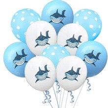 AVEBIEN 12inch Shark Baby White Blue Latex Balloons Transparent dots Air Balloon Shower Hawaiian Birthday Party Decorations