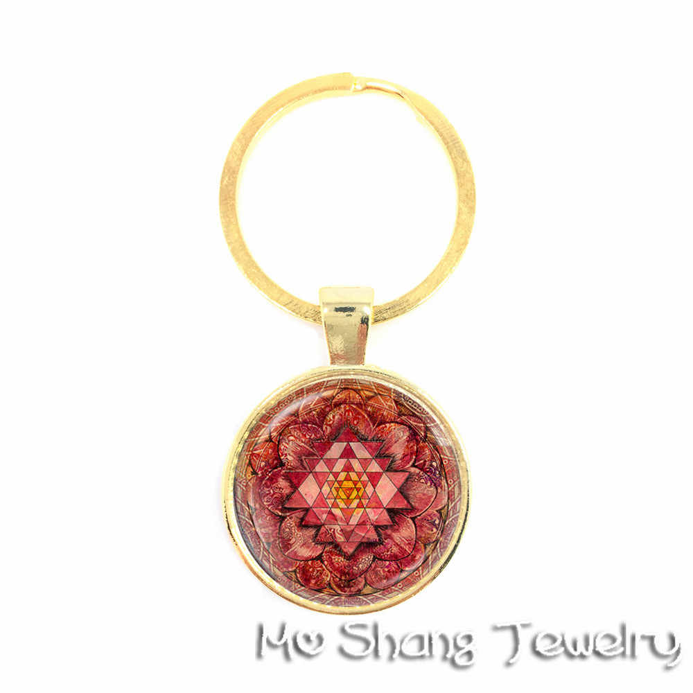El budismo OM símbolo India Mandala flor llaveros Zen imagen vidrio cabujón llaveros mejor regalo para amigos