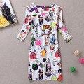 Новое модное летнее платье 2014, женская повседневная одежда с коротким рукавом, женская одежда, платье с цветочным принтом, бесплатная доставка