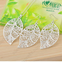 Cheapest Jewelry Sets 925 Sterling Silver Color Jewelry Set Leaf Pendant Necklaces Hook Earrings Leaves(China)