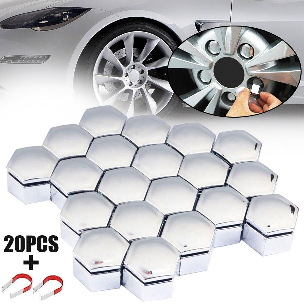 Para proteção do soquete do carro-estilo 20 pçs universal chrome 22mm roda hex porca parafuso tampa + ferramenta de remoção conjunto mayitr
