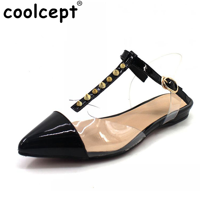 Coolcept Size 34-42 Women Rivets Genuine Leather Flats Sandals Summer Pointed Toe Jelly Shoes Woman Party Club Flats Sandals plue size 34 49 spring summer high quality flats women shoes patent leather girls pointed toe fashion casual shoes woman flats