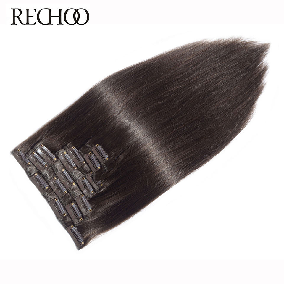 "Rechoo Machine Made Remy Straight Clip In Human Hair Extensions 100G 120G 100% Human Hair Clips In # 2 Dark Brown Color 18 ""22"""