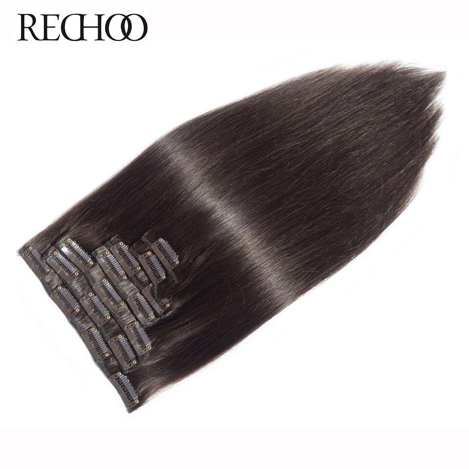 Rechoo прямые человеческие волосы Remy для наращивания на заколках 100 г 120 г 100% человеческих волос на зажимах #2 темно коричневого цвета 18 22