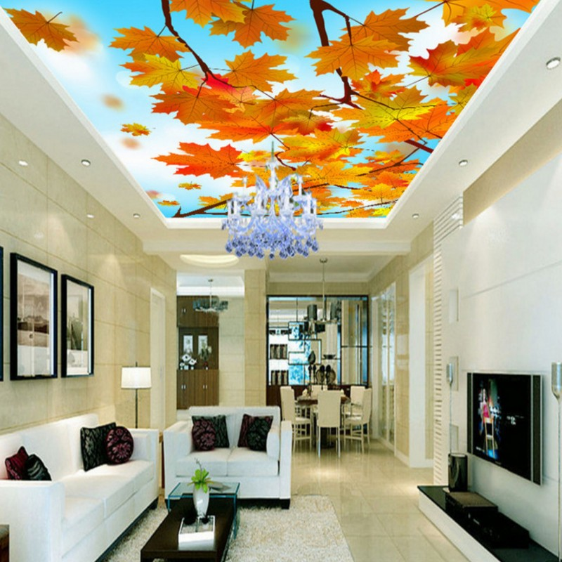 Custom photo wallpaper 3D stereo wallpaper Maple forest beautiful scenery ceiling fresco background wall wallpaper custom mural custom 3d stereo ceiling mural wallpaper beautiful starry sky landscape fresco hotel living room ceiling wallpaper home decor 3d